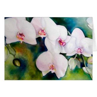Notecard angelical de las orquídeas, con el sobre tarjeta pequeña