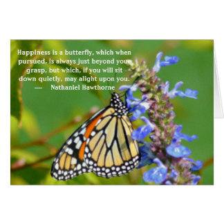 """NOTECARD, BUTTERFLY ON FLOWER """"HAPPINESS IS..."""" STATIONERY NOTE CARD"""
