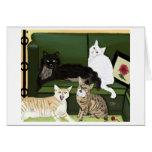 Notecard de cuatro el poco leones de montaña tarjetón