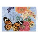 Notecard de la flora de la mariposa del vintage… tarjeta