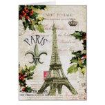 Notecard de la torre Eiffel del navidad del vintag Tarjetón