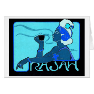 Notecard del azul de Café Rajah Felicitacion