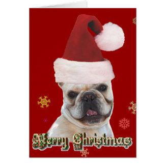 Notecard del dogo francés del navidad tarjeta pequeña