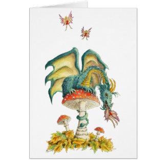 Notecard del dragón de los hongos tarjeta pequeña