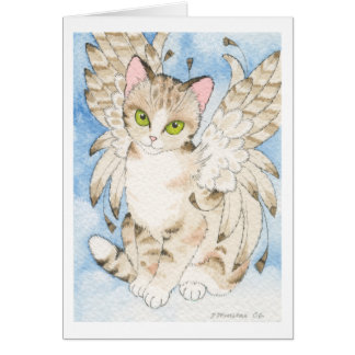 Notecard del personalizable del ángel del gato de felicitacion