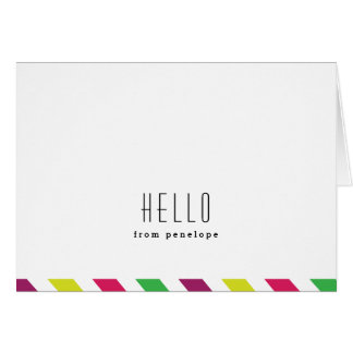Notecard doblado de muy buen gusto de la raya el | tarjeta pequeña