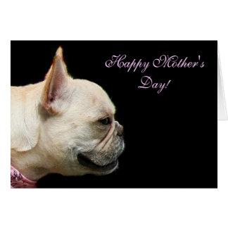 Notecard feliz del dogo francés del día de madre tarjeta pequeña