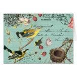 Notecard francés de los pájaros de Vinage Tarjeta Pequeña