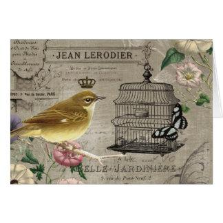 Notecard francés del pájaro del jardín del vintage tarjeta pequeña