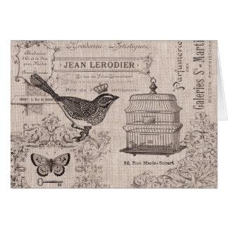 Notecard francés del pájaro del vintage tarjeta pequeña