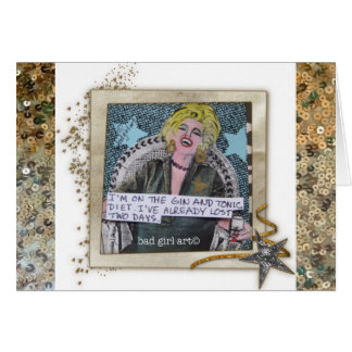 NOTECARD-I'M ON THE GIN AND TONIC DIET. STATIONERY NOTE CARD