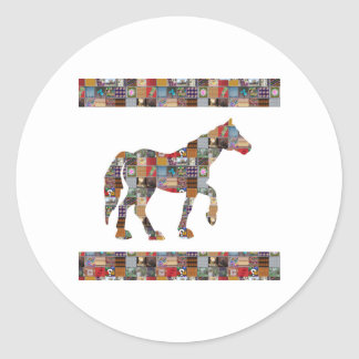 NoteCARD LargeCARD PostCARD Greetings NVN479 HORSE Classic Round Sticker