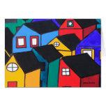 Notecard: Muchas casas coloreadas Tarjetas