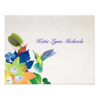 Notecard personalizado colibrí invitaciones personalizada