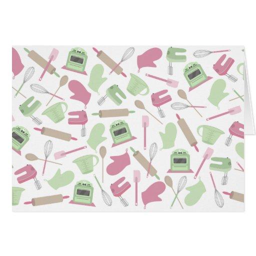Notecard temático de cocinar rosado tarjeta pequeña