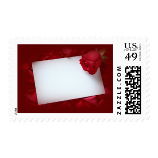 NoteCard w/ red rose - customizable with your text Stamp