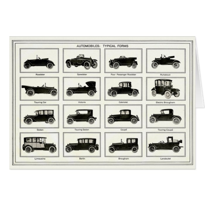 Notecard with Vintage Automobile Illustration