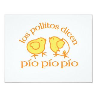 """Notecards del Los Pollitos Dicen Invitación 4.25"""" X 5.5"""""""