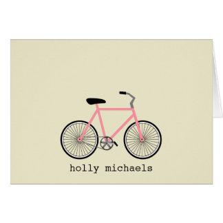 Notecards personalizado bicicleta rosada tarjeta pequeña