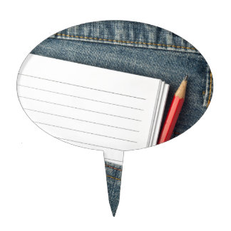 Notepad and pencil in jeans pocket cake topper