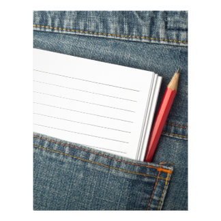 Notepad and pencil in jeans pocket letterhead