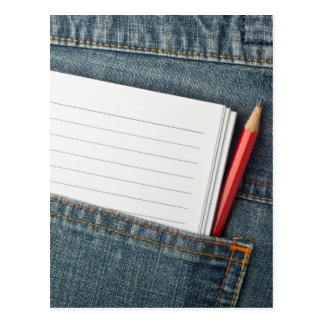 Notepad and pencil in jeans pocket postcard