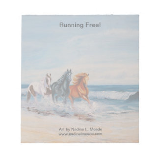 Notepad, Horses in the Surf, Running Free! Notepad