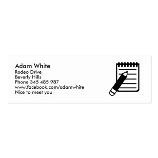 Notepad notes pencil business card template