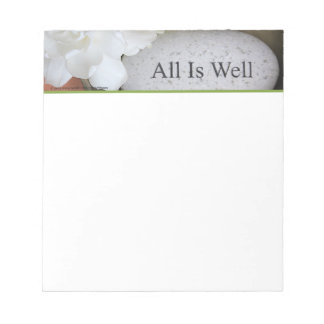 Notepad, Small - Engraved Stone, All is Well Notepad