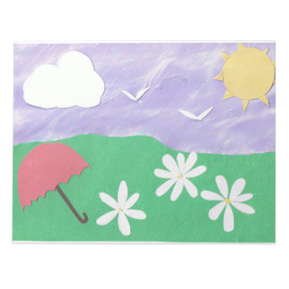 Notepad with Green Grass & a Lavender Sky