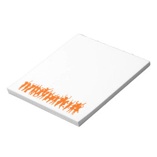 Notepad with orange dancing people