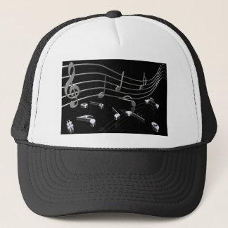 Notes, music, black trucker hat