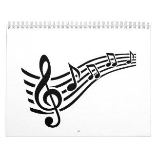 Notes music clef calendar