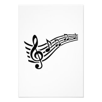 Notes music clef personalized invitation