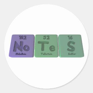 Notes-No-Te-S-Nobelium-Tellurium-Sulfur.png Classic Round Sticker