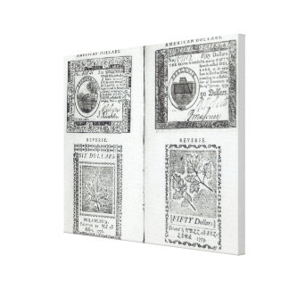 Notes of the Continental Currency Canvas Print