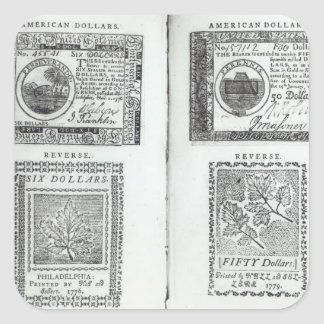 Notes of the Continental Currency Square Sticker