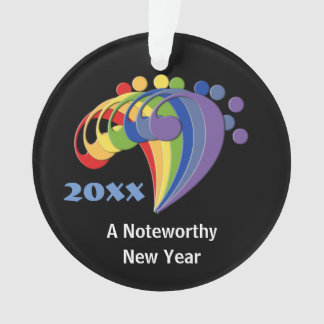 Noteworthy New Year Bass Clefs Custom Text Ornament