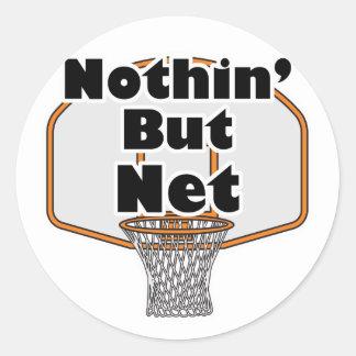 nothin but net basketball hoop classic round sticker