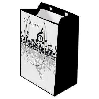 Nothin' But Treble Black Music Notes Gift Bag