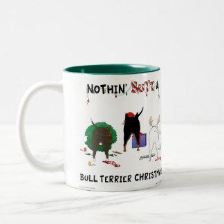 Nothin' Butt A Bull Terrier Christmas Two-Tone Coffee Mug