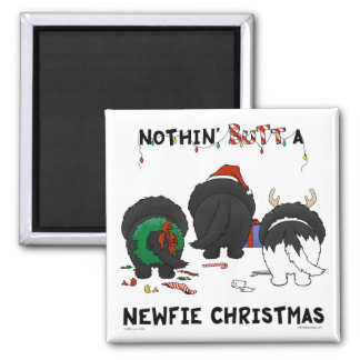 Nothin' Butt A Newfie Christmas 2 Inch Square Magnet