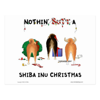 Nothin' Butt A Shiba Inu Christmas Postcard
