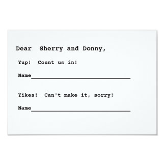 Nothin' fancy RSVP 3.5x5 Paper Invitation Card
