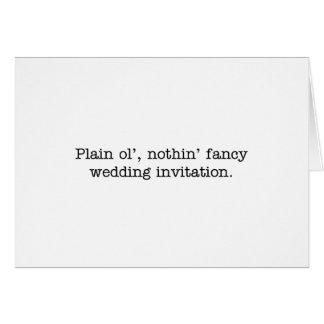 nothin' fancy wedding invite card