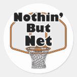 nothin pero aro de baloncesto neto etiqueta redonda