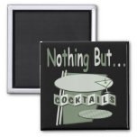 Nothing But Cocktails Black and White green Fridge Magnets