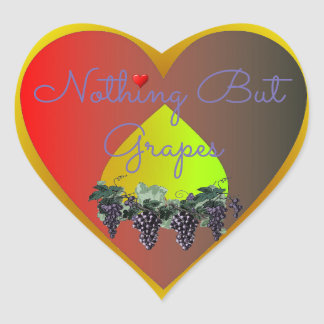 Nothing But Grapes Heart Sticker