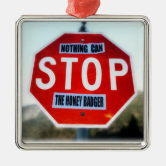 Nothing Can STOP th Honey Badger Square Metal Christmas Ornament