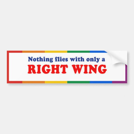 NOTHING FLIES WITH ONLY A RIGHT WING - .png Car Bumper Sticker
